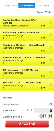 Screenshot 12 Apuesta baloncesto + tenis: ACB + Open Australia. @9.46 Cogerla esta noche que bajará seguro #combiPAF