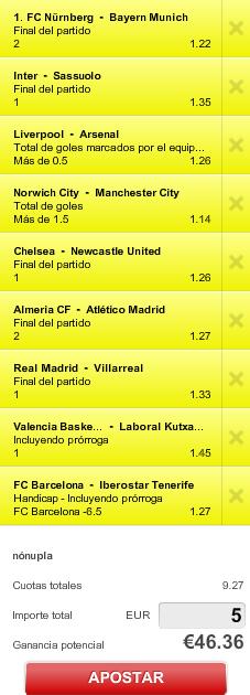 Screenshot 1 Combinada multideportes: Favoritos. Tenemos bote de 40€ si fallamos la apuesta #combiPaf