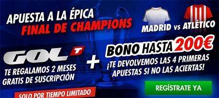promo golt Sportium: Bono bienvenida 200€ + 2 meses gratis de Gol T para ver el Mundial