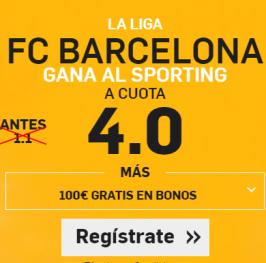 (Enlace -> https://goo.gl/yxEqwp) Barcelona gana al Sporting a CUOTA 4.0