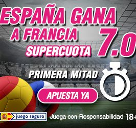 España ganará en la primera parte a Francia CUOTA 7.0
