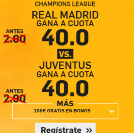 (Enlace exclusivo -> https://goo.gl/78Gv1o) Real Madrid o Juventus Cuota @40