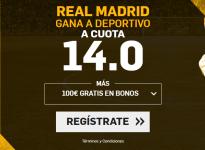 Cuota 14.0 victoria Real Madrid ante el Deportivo para nuevos usuarios en Betfair