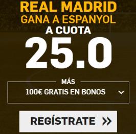 Cuota 25 Real Madrid gana al Espanyol (nuevos usuarios)